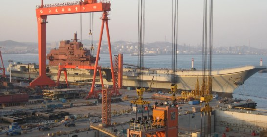Ex-Soviet Navy Varyag under refit at Dalian Shipyard