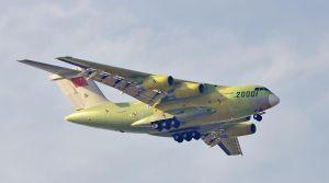 Y-20 prototype '20001' in flight