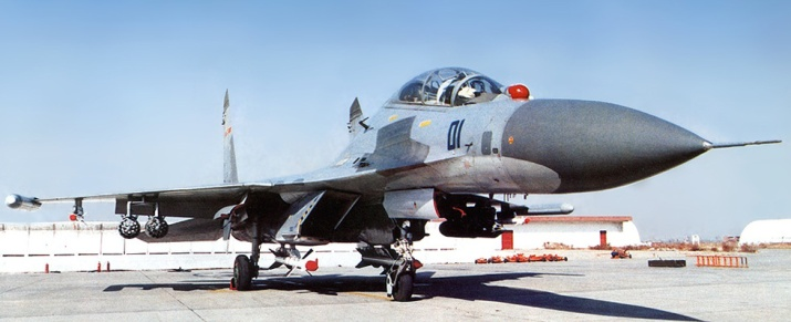 A PLAAF two-seater Su-27UBK fighter-trainer carrying both air-to-air and ground attack weapons