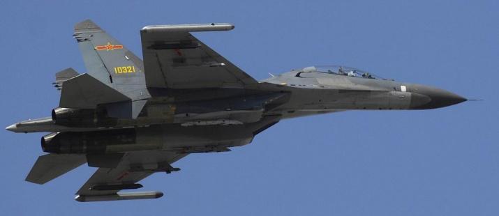 A PLAAF Su-27UBK fighter-trainer in flight