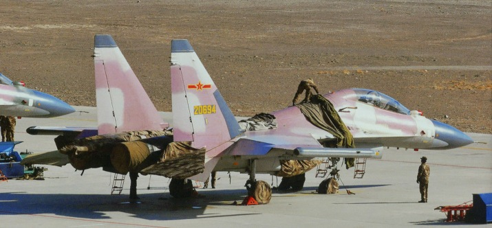 A Su-30MKK operated by a PLAAF opposing force (OPFOR) unit in special desert camouflage colour