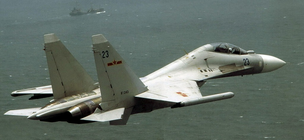 A PLA Naval Aviation Su-30MKK2 in flight