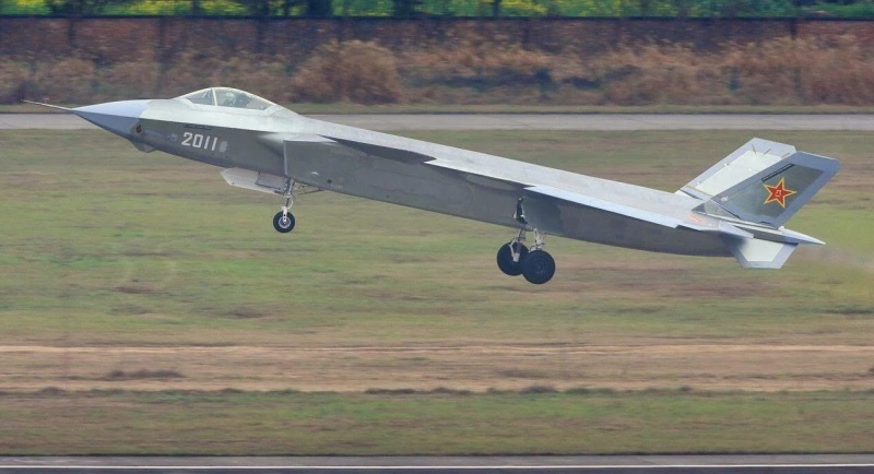 An early J-20 prototype in test flight in 2014