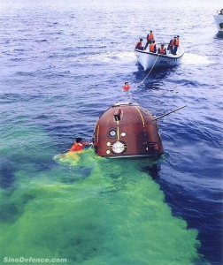 Chinese navy crew in a simulated exercise to recover a Shenzhou re-entry capsule that has landed in the sea